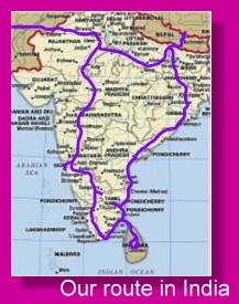 OUR ROUTE AROUND INDIA